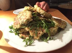 Cauliflower Arugula Fritters -- Finished Delight